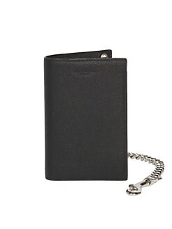 467079e076e Chain Bi-Fold Pebbled Leather Wallet BLACK. QUICK VIEW. Product image