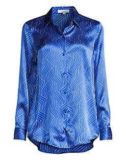 d20b0e5d0898c8 Equipment. Essential Geometric-Print Silk Shirt
