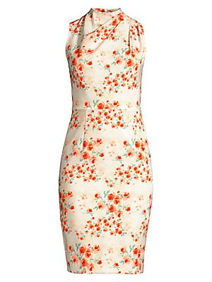 """Image of A romantic floral motif adorns this gathered mockneck midi dress. Gathered mockneck Sleeveless Concealed back zip Fitted waist Back vent Stretch lining Polyamide/elastane Dry clean Made in USA of imported fabric SIZE & FIT Sheath silhouette About 40"""" from"""