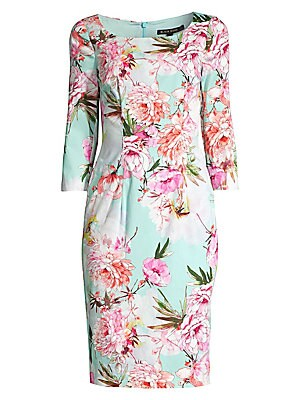"""Image of A romantic floral motif adorns this cotton sateen fitted midi dress. Scoopneck Three-quarter sleeves Concealed back zip Back vent Stretch lining Cotton/elastane Dry clean Made in USA of imported fabric SIZE & FIT Sheath silhouette About 42"""" from shoulder"""