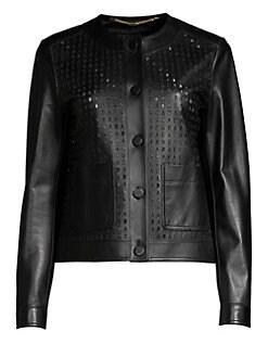 b6d3eec8105 Product image. QUICK VIEW. Escada. Lascada Laser Cut Logo Leather Jacket