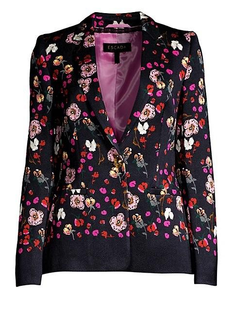 Brikenanton Floral Crepe Blazer Jacket