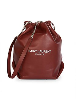 8b860aa52d19 Saint Laurent - Small Teddy Leather Bucket Bag