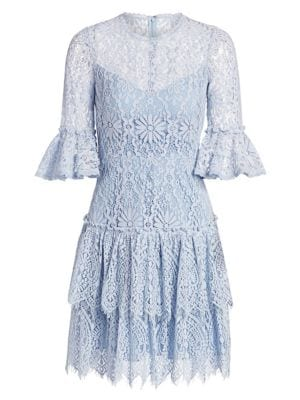 Tiered Lace Bell Sleeve Dress