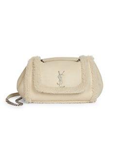 8df889ae92d0 Saint Laurent. Medium Nolita Shearling-Trim Leather Shoulder Bag
