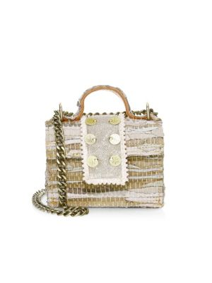 Kooreloo Petite Woven Leather Top Handle Bag In Gold