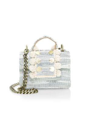 Kooreloo Petite Lollipops Woven Top Handle Bag In Ivory