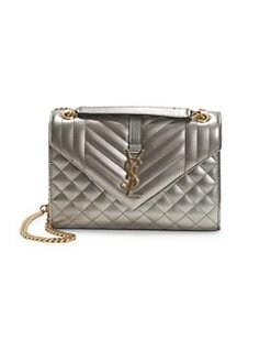 8bef2aea99 Product image. QUICK VIEW. Saint Laurent. Medium Tri-Quilt Metallic Leather  Envelope Bag