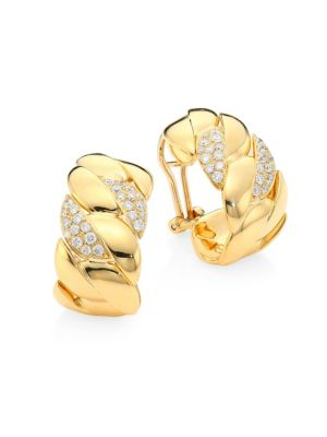 Alberto Milani Via Brera 18k Yellow Gold Diamond Curb Earrings