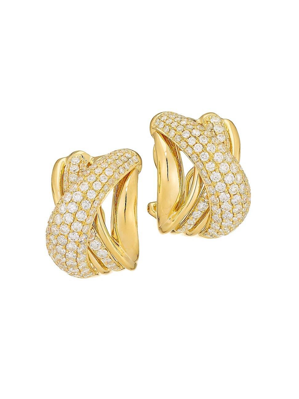 Alberto Milani WOMEN'S VIA BRERA 18K YELLOW GOLD & PAVÉ DIAMOND CRISSCROSS EARRINGS