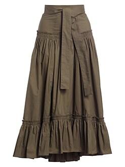 5ac6bd9251 Proenza Schouler. Cotton Poplin Ruffle Midi Skirt