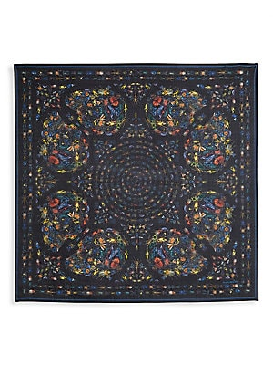 """Image of A colorful optical illusion, this scarf's skull illustrations are embellished with decadent micro insect illustrations that embody abstract artistry. Silk Dry clean Made in Italy SIZE 41""""W x 47""""L. Men Accessories - Fashion Accessories > Saks Fifth Avenue."""