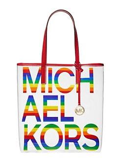 75d4519373d9 QUICK VIEW. MICHAEL Michael Kors. Large Translucent Leather-Trim Logo Tote  Bag