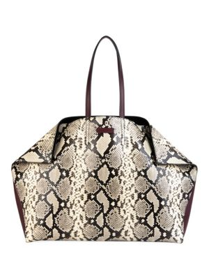 Alexander Mcqueen Butterfly Snakeskin Embossed Leather Tote