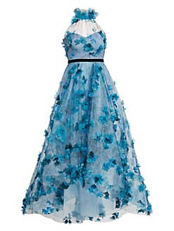 8374d1200d3 Floral-Embroidered High-Low Halter Gown BLUE. QUICK VIEW. Product image