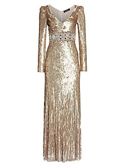 726fd60fc21 QUICK VIEW. Jenny Packham. Deep V-Neck Long-Sleeve Sequin Gown