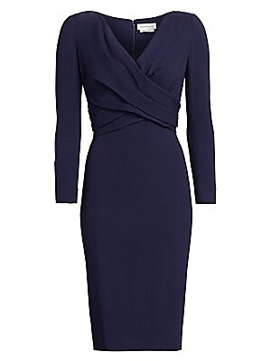 Image of A crossover bodice detail enhances the figure while adding texture to this smart V-neck dress. Its midi length ensures this is a versatile piece. Surplice V-neck with ruching Three-quarter sleeves Concealed back zip closure Back vent Wool/elastane/polyami