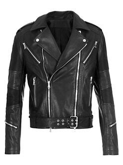 2c00ca88a3c9 Balmain. Rib-Patch Leather Moto Jacket