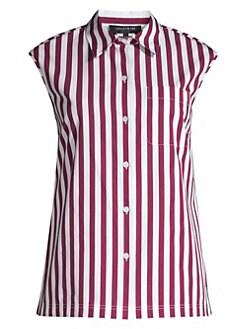 9f4f99effbfa66 Lafayette 148 New York. Yani Striped Linen Shirt