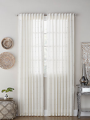 "Image of Airy linen panel doted with sparkling gold and silver crystals. Rod-pocket top Linen Dry clean Imported SPECIFICATIONS Medium: 54"" W x 96"" L Large: 54"" W x 108"" L Extra-Large: 54"" W x 120"" L Please note: Sold by the single panel. Gifts - Bed And Bath > Sa"
