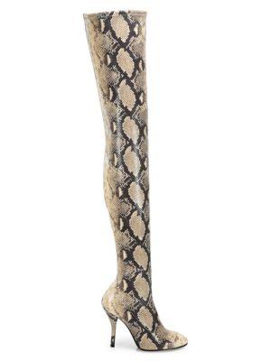 Stuart Weitzman Women's Shiloh Over-the-knee Snakeskin-embossed Boots In Gold