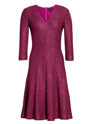 St John Sequin Tweed V Neck Dress