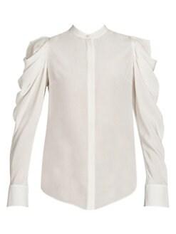 5789b508e9cc Alexander McQueen. Gathered-Sleeve Silk Shirt