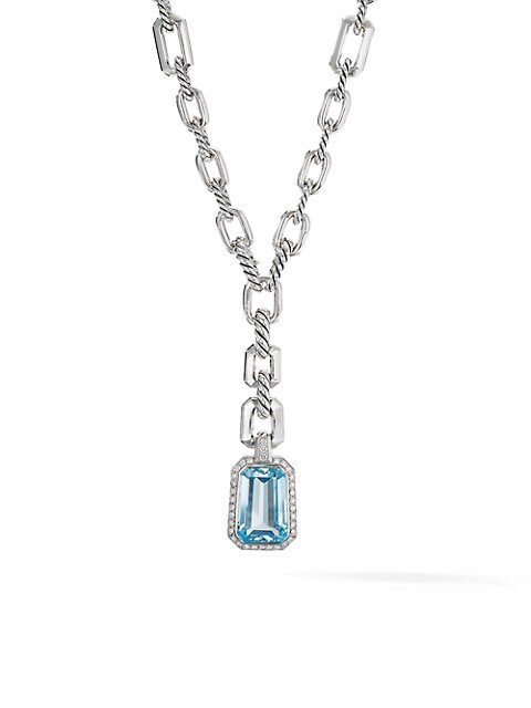 Stax Drop Pendant Necklace with Blue Topaz & Diamonds