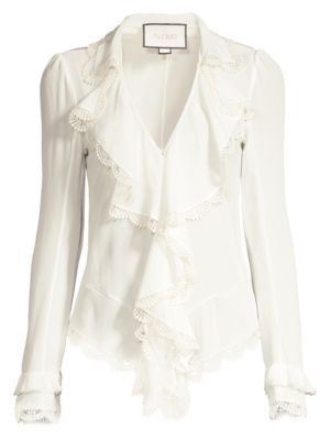 Alexis Tops Phineas Lace Ruffle Silk Blouse