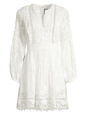 Alexis Dresses Artemis Plisse Lace Silk-Blend A-Line Tunic Dress