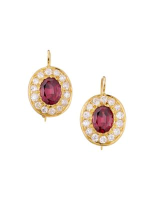 Renee Lewis 18k Yellow Gold Garnet Diamond Drop Earrings