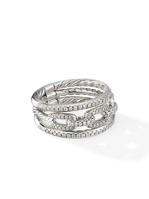 Stax 18K White Gold & Pavé Diamond Three-Row Chain Link Ring