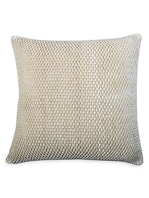 "Image of A honeycomb weave adds texture to this velvet throw pillow. Zip closure Lining: Polyester Velvet Removable fill: Down and feather blend Dry clean Imported SPECIFICATIONS 22""W x 22""H. Gifts - Bed And Bath > Saks Fifth Avenue. Callisto Home. Color: Ivory."