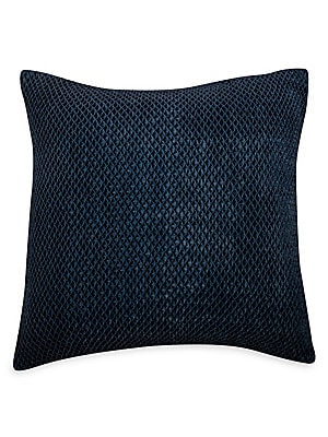 "Image of A honeycomb weave adds texture to this velvet throw pillow. Zip closure Lining: Polyester Rayon Removable fill: Down and feather blend Dry clean Imported SPECIFICATIONS 22""W x 22""H. Gifts - Bed And Bath > Saks Fifth Avenue. Callisto Home. Color: Navy."
