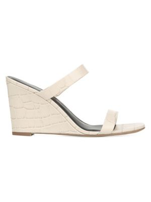 Diane Von Furstenberg Mules Vivienne Croc-Embossed Leather Wedge Mules