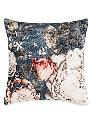 "Image of A bold floral print is finished with beading on this square throw pillow. Zip closure Lining: Polyester Linen Removable fill: Down and feather blend Dry clean Imported SPECIFICATIONS 22""W x 22""H. Gifts - Bed And Bath > Saks Fifth Avenue. Callisto Home. Co"