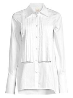 54045642 Khaite. Michelle Cotton Poplin Tuxedo Shirt
