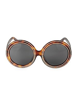 Image of Bold round frames feature crystal embellishment around the lenses, delicately arranged between goldtone raised dots. 100% UV protection Smoke lenses Acetate Made in Italy SIZE 61mm lens width 23mm bridge width 140mm temple length. Soft Accessorie - Sungla