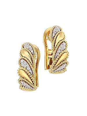 5623cb37f Roberto Coin - Byzantine Barocco 18K Gold & Diamond Graduated Lever Earrings  - saks.com