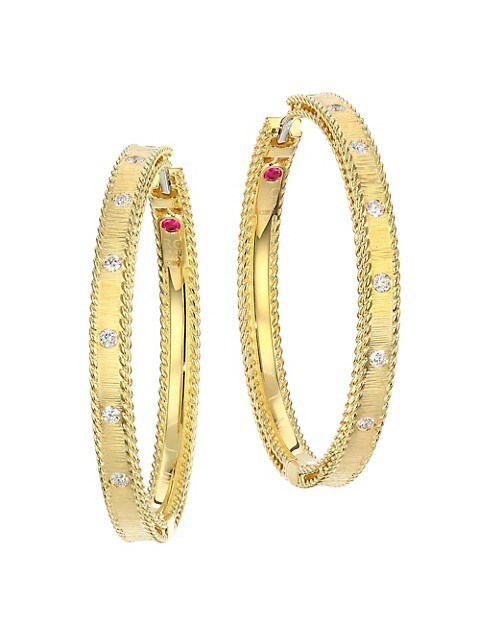 Princess Diamond & 18K Yellow Gold Hoop Earrings