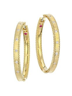 49b131576 Princess Diamond & 18K Yellow Gold Hoop Earrings GOLD. QUICK VIEW. Product  image. QUICK VIEW. Roberto Coin