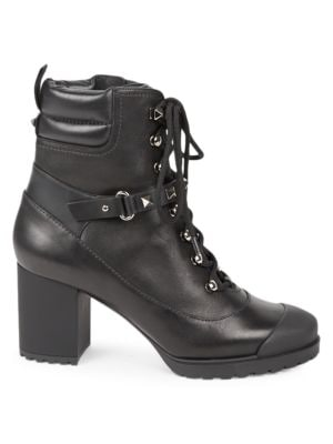 Valentino Garavani Rockstud Leather Stacked Heel Combat Boots by Valentino