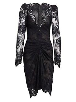 443681b1d09 Monique Lhuillier. Long-Sleeve Lace Cocktail Dress