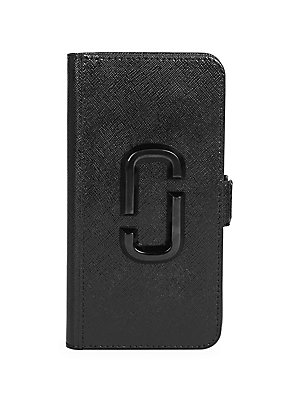 """Image of Snap it on and go. This compact case carries your phone, cards and bills all in one place! Suitable for iPhone XR Magnetic snap closure Four inside card slots PVD interior Coated leather Imported SPECIFICATIONS 3""""W x 6""""H x 0.8""""D. Handbags - Marc Jacobs >"""