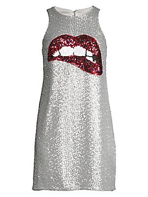 "Image of Billowy shift dress with striking sequined lips imagery exudes glamour. Roundneck Sleeveless Concealed back zip Nylon/polyester Dry clean Imported SIZE & FIT Shift silhouette About 33"" from shoulder to hem Model shown is 5'10"" (177cm) wearing US size 4. D"