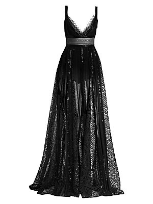 Sheer Lace & Sequin V Neck Gown by Elie Saab