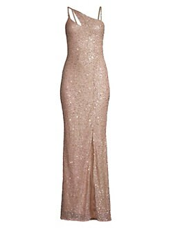 52a37baab6 QUICK VIEW. Parker Black. Imani Sequin Glitter Front Slit Column Gown.   698.00 · Squareneck Ruffle Hem Dress BRIGHT RED