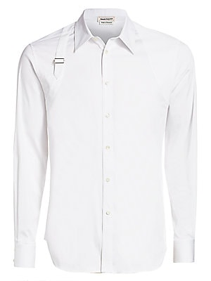 """Image of A classic button down is transformed with a unique harness inspired buckle and shoulder panels. Crewneck Long sleeves Button placket Button barrel cuffs Shirttail hem Cotton/polyester Dry clean Made in Italy SIZE & FIT About 30"""" from shoulder to hem. Men"""
