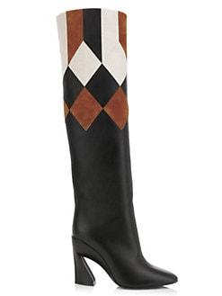 ff0c005f0e07 QUICK VIEW. Salvatore Ferragamo. Antea Patchwork Knee-High Leather Boots