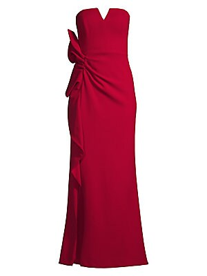 """Image of An architectural ruffle highlights the hip of this strapless mermaid gown. Notched squareneck Strapless Concealed back zip Hip ruffle Front slit Lined Polyester/spandex Dry clean Imported SIZE & FIT Mermaid silhouette About 50.75"""" from shoulder to hem Mod"""
